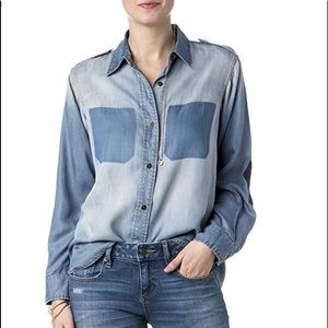 Miss Me Denim Washed Out Elbow Patch Top
